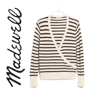 Madewell Elthorne Stripe Wrap Front Women Sweater